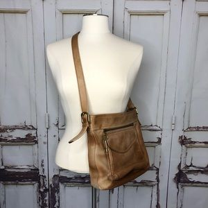Vintage FOSSIL tan leather crossbody purse bag